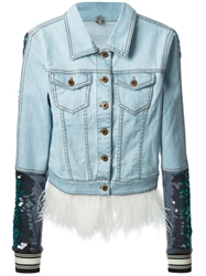 Aviu Sequin Embellished Denim Jacket Blue