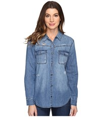 Joe's Jeans Melani Shirt Medium Blue Women's Clothing