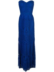Tadashi Shoji Floral Embroidered Evening Dress Blue