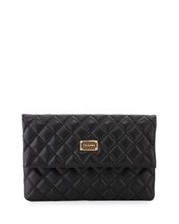 St. John Quilted Leather Fold Over Clutch Bag Black