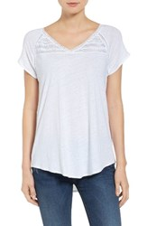 Nydj Women's Lace Trim Linen Blend Tee Optic White