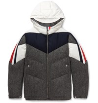 Moncler Gamme Bleu Panelled Wool And Shell Hooded Down Jacket Gray