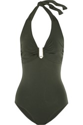 Melissa Odabash Tampa Halterneck Swimsuit Army Green