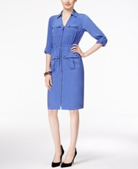 Alfani Petite Zip Front A Line Shirtdress Only At Macy's Alf Pery Blue