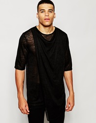 Asos Super Longline T Shirt With Drape Neck And Double Layer In Knitted Fabric Black