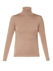 Valentino Roll Neck Fine Knit Sweater Nude