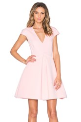 Halston Cap Sleeve V Neck Mini Dress Pink