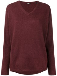 Aspesi V Neck Sweater Red