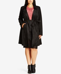 City Chic Trendy Plus Size Faux Suede Trench Coat Black