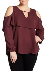 Stony Long Sleeve Cold Shoulder Blouse Plus Size Red