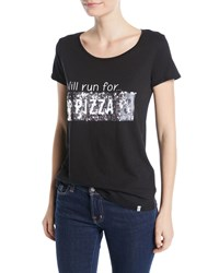 Marc New York Will Run For Pizza Scoop Neck Sequin Cotton Tee Black