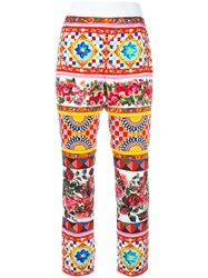 Dolce And Gabbana Mambo Print Cropped Trousers