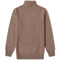 Officine Generale Scottish Wool Turtle Neck Knit Brown