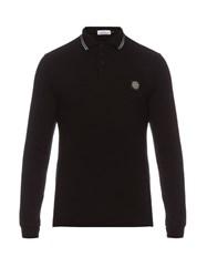 Stone Island Long Sleeved Stretch Cotton Polo Shirt Black