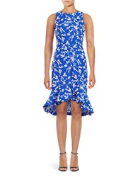 Shoshanna Floral High Low Dress Sapphire Optic