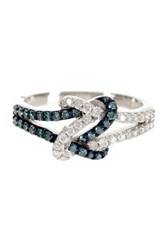 Elani Diamonds Sterling Silver Pave White And Blue Diamond Infinity Ring 0.50 Ctw