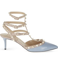 Valentino Rockstud 65 Patent Leather Heeled Courts Grey