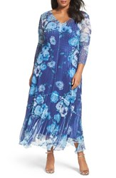 Komarov Plus Size Women's Print Chiffon Long Dress Sapphire Garden