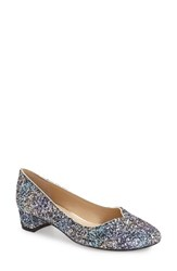 J. Renee Women's 'Bambalina' Block Heel Glitter Pump Blue Gold Glitter Fabric