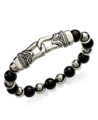 Macy's Men's Stainless Steel Bracelet Black Agate Beaded Bracelet 10Mm