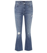 Mother The Insider Crop Fray Jeans Blue