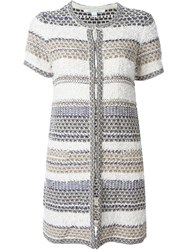 Diane Von Furstenberg Shortsleeved Tweed Long Jacket Multicolour