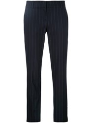 Brunello Cucinelli Pinstripe Cropped Trousers Women Cotton Polyester Spandex Elastane Cupro 42 Blue