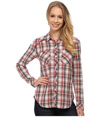 Dylan By True Grit Roots Vintage Flannel Plaid Shirt W Novelty Lining Vintage Red Women's Long Sleeve Button Up