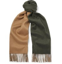 Johnstons Of Elgin Reversible Fringed Cashmere Scarf Army Green