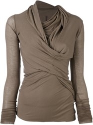 Rick Owens Lilies Wrap Blouse Nude And Neutrals