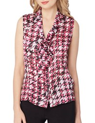 Tahari By Arthur S. Levine Houndstooth Sleeveless Woven Top