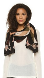 Theodora And Callum Deer Valley Scarf Olive Multi