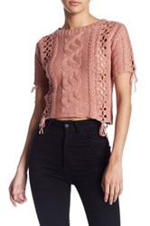For Love And Lemons Wythe Cropped Sweater Pink