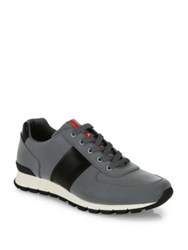 Prada Reflective Leather And Nylon Running Sneakers Silver Black