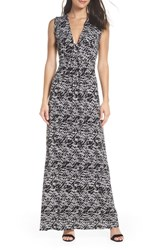 Fraiche By J Plunge Neck Maxi Dress Black Combo