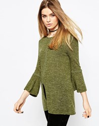 Asos Jumper With Flared Sleeve In Linen Yarn Olive Green