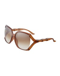 Gucci Open Temple Bamboo Detail Sunglasses Brown