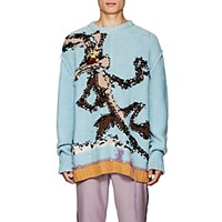 Calvin Klein 205W39nyc Wile E. Coyote Reverse Knit Wool Sweater Lt. Blue