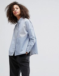Monki Cut About Stripe Shirt White And Blue