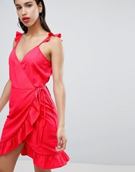 Vila Wrap Cami Dress With Ruffle Detail Red