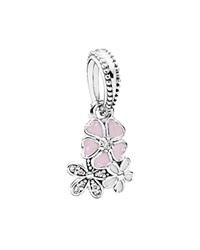 Pandora Design Pandora Dangle Charm Sterling Silver Cubic Zirconia And Enamel Poetic Blooms Moments Collection Pink
