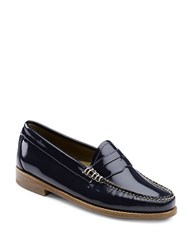 G.H. Bass Whitney Patent Leather Penny Loafers Navy Blue