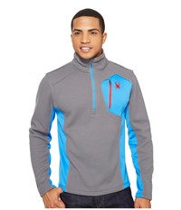 Spyder Bandit Half Zip Fleece T Neck Image French Blue Red Men's Fleece Image French Blue Red