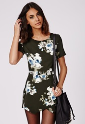 Missguided Floral Skort Romper Deep Green