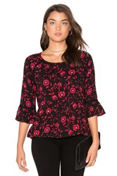 Velvet By Graham And Spencer Gertrude Floral Top Black