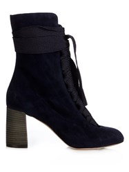 Chloe Harper Lace Up Suede Ankle Boots Navy