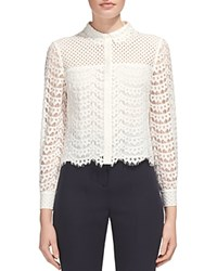 Whistles Penny Cropped Lace Shirt Ivory