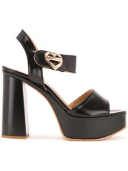 Love Moschino Heart Buckle Sandals Black