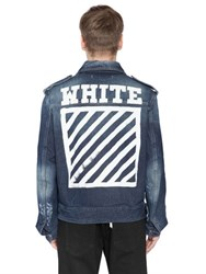Off White Stripes Printed Cotton Denim Jacket