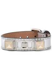 Proenza Schouler Metallic Leather Silver And Gold Tone Bracelet Silver